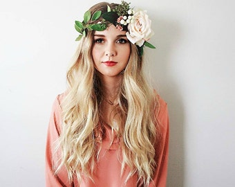 The Mandi Boho Style Flower Crown/ Peach Blush Rose / Natural Flower Crown/ Boho Bridal Headpiece/ Rustic Wedding Flower Crown/ Photo Prop