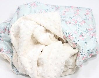 Joy Wreaths Blanket, Baby Blanket, Toddler Blanket, Minky Blanket, Kid Blanket, Adult Blanket, Newborn Blanket, Flowers Baby Blanket