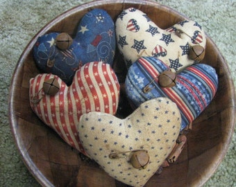 Patriotic Hearts, bowl fillers, 4th of July, hearts, July 4th, primitive, Americana, material,