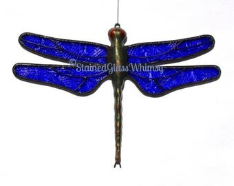 Stained Glass Celtic Dragonfly Suncatcher, Bright Cobalt Blue Celtic Knot, Handcast Metal Body, USA Handmade, Celtic Dragonfly, Blue Firefly