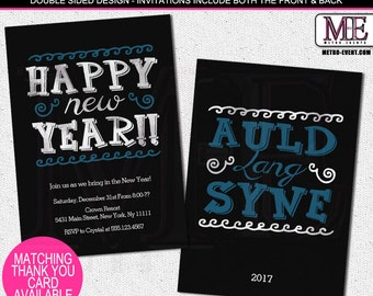 Whimsical New Years Eve Party Invitations