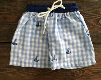 Boys Charleston Gingham and Sailboat Swimsuit