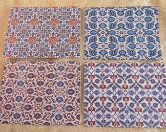 Iznik Tiles Handmade Note Cards Thank You Cards Set of 4 with Envelopes