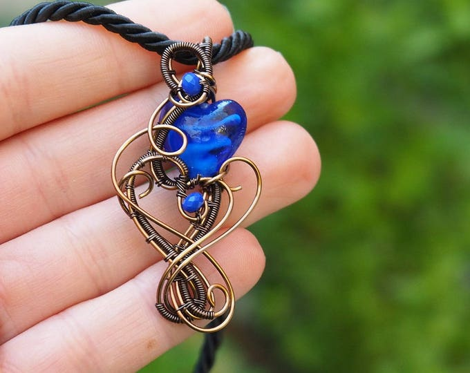 Blue heart wire wrapped pendant