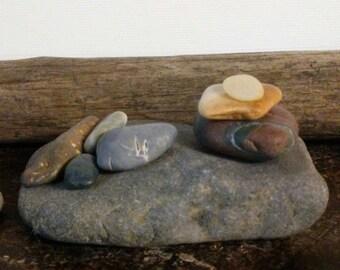 Beach Stone Sculpture by Charlie!   Unique Colorful Ocean Rocks Rock Art Stone Art Natural Gift Zen Stones Zen Garden Sculpture Yoga Props