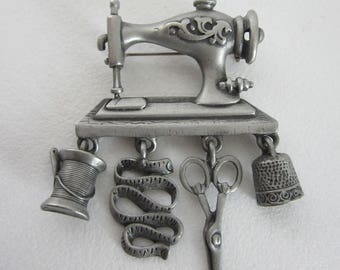 Vintage Danecraft Sewing Charm Brooch - Pewter Pin - Thimble - Sewing Machine - Scissors - Thread Spool - Tape Measure - Whimsical Accessory