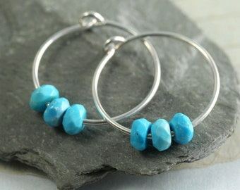 Sterling Silver Hoops with gemstones. Turquoise and silver Earrings