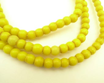 """28"""" strand matched 5 mm yellow prosser pressed glass African trade beads AB-0015"""