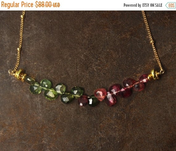 20% off. Watermelon Tourmaline Necklace in Graduated Pink and Green. Bar Necklace. Tear Drop Necklace. Gemstone Jewelry. NM-2189