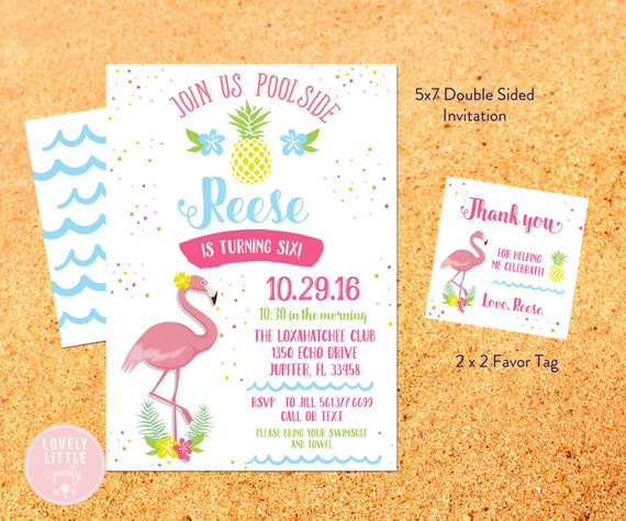 Pineapples and Flamingos Birthday Invitation Kit, Flamingo pool party, pool party invite, Pineapples pool - Invite AND Favor Tags included