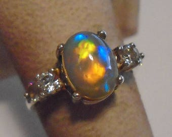 Ethiopian Welo Opal Sterling Silver Ring Size 6.5