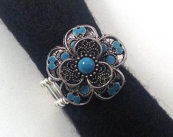 Turquoise Flower Ring, Statement Ring, Large Statement Ring, Stretch Ring, Metal Statement Ring, Metal Ring, Flower Ring