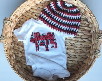 UGA Bulldog Set - Onsie and Hat - Boy, Girl, or Gender-Neutral in red/black/white with 2 applique fabrics to choose from