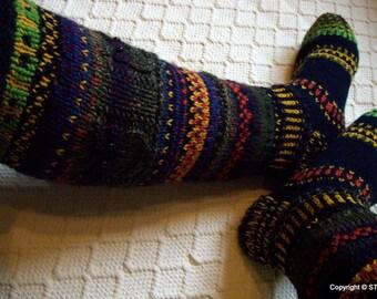 Fairy-tale land II -Long kneehigh Wool socks 'Satumaa II' Women Girl hand knit Boot Multicolor Winter Big Warm Cosy Gift Handmade in FINLAND