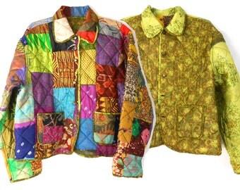 Quilted Jacket/ Patchwork Jacket/ Festival Jacket/ Reversible Jacket/ Ethnic Jacket/ Mexican Jacket/ Guatemalan Clothing/ Silk Jacket