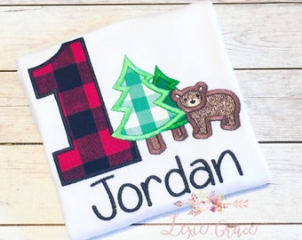 Lumberjack birthday Monogram and Applique Shirt or Bodysuit - woodlands, Personalized, Boys, first birthday, plaid