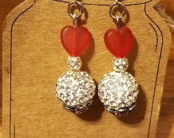 Shamballa White Earring with Red Glass Bead Heart  1 Pair Silver Finish Fishhook Style