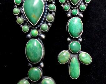 Navajo+READDA BEGAY+Mesmeric+Green Turquoise+Cluster+VTG. Revival+925+Earrings