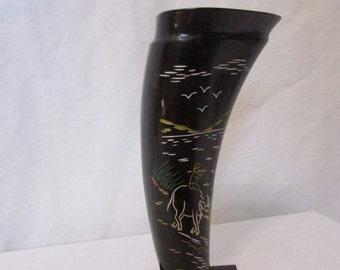 Water Buffalo Horn Vase Scrimshaw Asian Carving Design