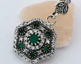 Emerald Topaz Pendant Handcrafted Hexagon 925 Sterling Silver