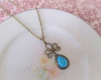 Vintage Turquoise Gemstone Charm Pendant Necklace, Antique Brass, Vintage Jewel, Pear, Drop, Costume Jewelry, Nickel Free
