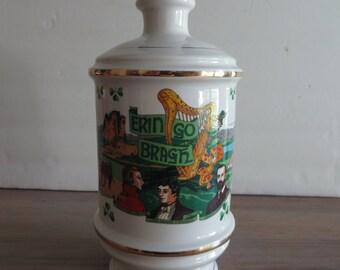 Vintage Irish whiskey decanter, 1971 Talisman porcelain, Old Fitzgerald Collectors Gallery, Stitzel Weller Distillery