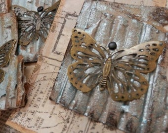 LARGE TAGS 3 - Collage and Ink - Dimensional Butterfly Charm - Browns Icy Blue Black