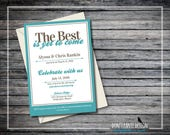 Printable Wedding Announcement Invitation - The Best is Yet to Come - Wedding Reception Announcement - Turquoise and Tan  - Custom Colors