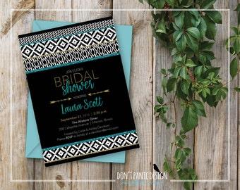 Printable Bridal Shower Invitation - Modern Tribal Invitation - Black, Teal, and Gold Glitter Bridal Shower Invitation - Custom Colors