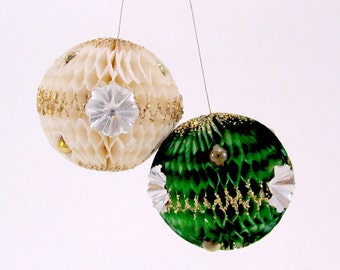 Vintage Honeycomb Paper Christmas Ornaments Mid Century Christmas Decorations