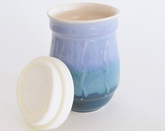IN STOCK, Ceramic Travel Mug with Silicone Lid, Small Stoneware To Go Coffee Mug, 16 oz Blue Green Eco Mug, Small Commuter Mug