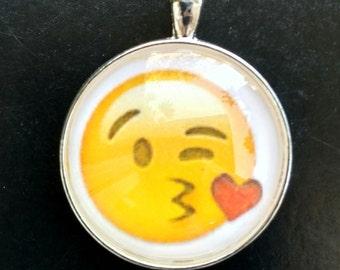 Love Emoji Keychain- Kissing Emoji Pendant-Emoji Necklace-Charm-Emoji with Heart-Purse Charm-Emoji Accessory