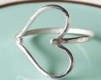 ON SALE Hammered Sideways Heart Sterling Ring - Heart Ring - Sterling Ring - Silver Heart Ring