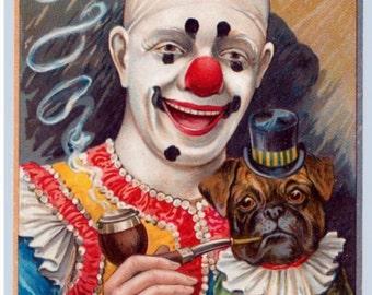 Vintage Pug with Clown Print  Decoupaged on Wood