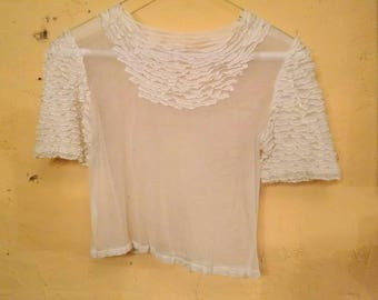 Sheer 30s Mesh Top Tiny Layered Ruffles Ethereal XS