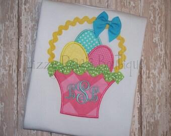 SALE- Easter shirt- Easter shirt- Girls Easter shirt- Monogrammed Easter basket- Easter monogram- Easter basket- Monogrammed Easter shirt