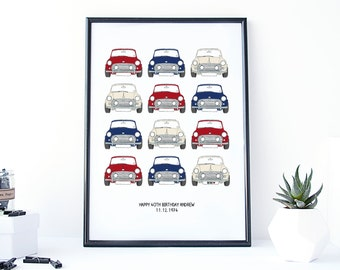 Classic Mini Cooper Car Print - personalised print for him - print for men - fathers day gift - mini cooper gift - gift for boys - car gift