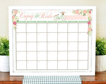 Floral Calendar - Printable Calendar - Monthly Floral Calendar - Dry Erase Calendar - Enjoy the Ride - Office Calendar - Command Center -
