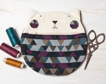 Cat Wallet, Geometric Cosmetics Bag, Best Cat lover gift, Multi Color Makeup Bag, Christmas gift for woman, Cute Cat Zipper Pouch