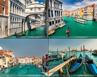 Digital files collection, Venice travel wall art, Italy fine art photography, travel photo, Venezia water canals houses digital download