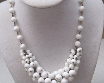 White Beaded Cluster Necklace, Vintage Necklace