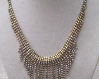 Rhinestone Waterfall Necklace, Vintage Jewelry