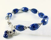 Lapis Lazuli Bracelet, Sterling Silver, royal blue gemstone, cluster charm, heart charm, boho, statement, artisan, December birthstone, 4060