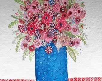 Beautiful Blooms, original watercolor painting