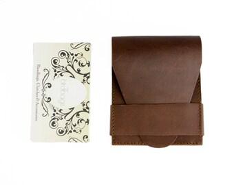 "Brown Leather Card Wallet, Kangaroo Skin Leather Business Card Holder, Birdbags ""Beak"""