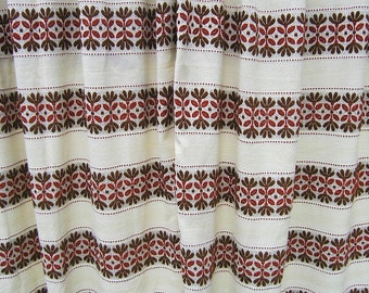 Pair Vintage Floral Curtains, Mid Century 1960s 1970s Woven Curtains, Brown Rust Geometric Flowers on off White Woven Drapes