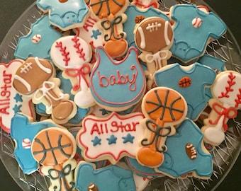 Sports Baby Shower Cookies (2dozen)