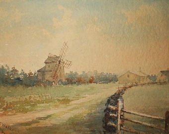 vintage watercolor of windmill signed