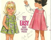 ON SALE Butterick 5076 Toddlers One-Piece Dress Or Jumper Pattern, Size 2, UNCUT