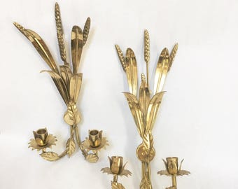 Vintage Gilded Wall Art Italian Mid Century Modern Curtis Jere Inspired Golden Metal Art Wheat Metallic Flora Candle Sconce Candelabra  Art